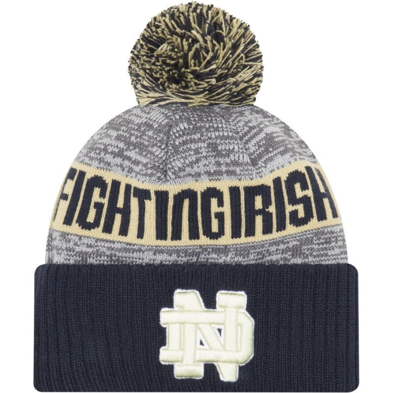09e006f4186 New Era Men s Notre Dame Fighting Irish Navy NE16 Sport Knit Beanie ...