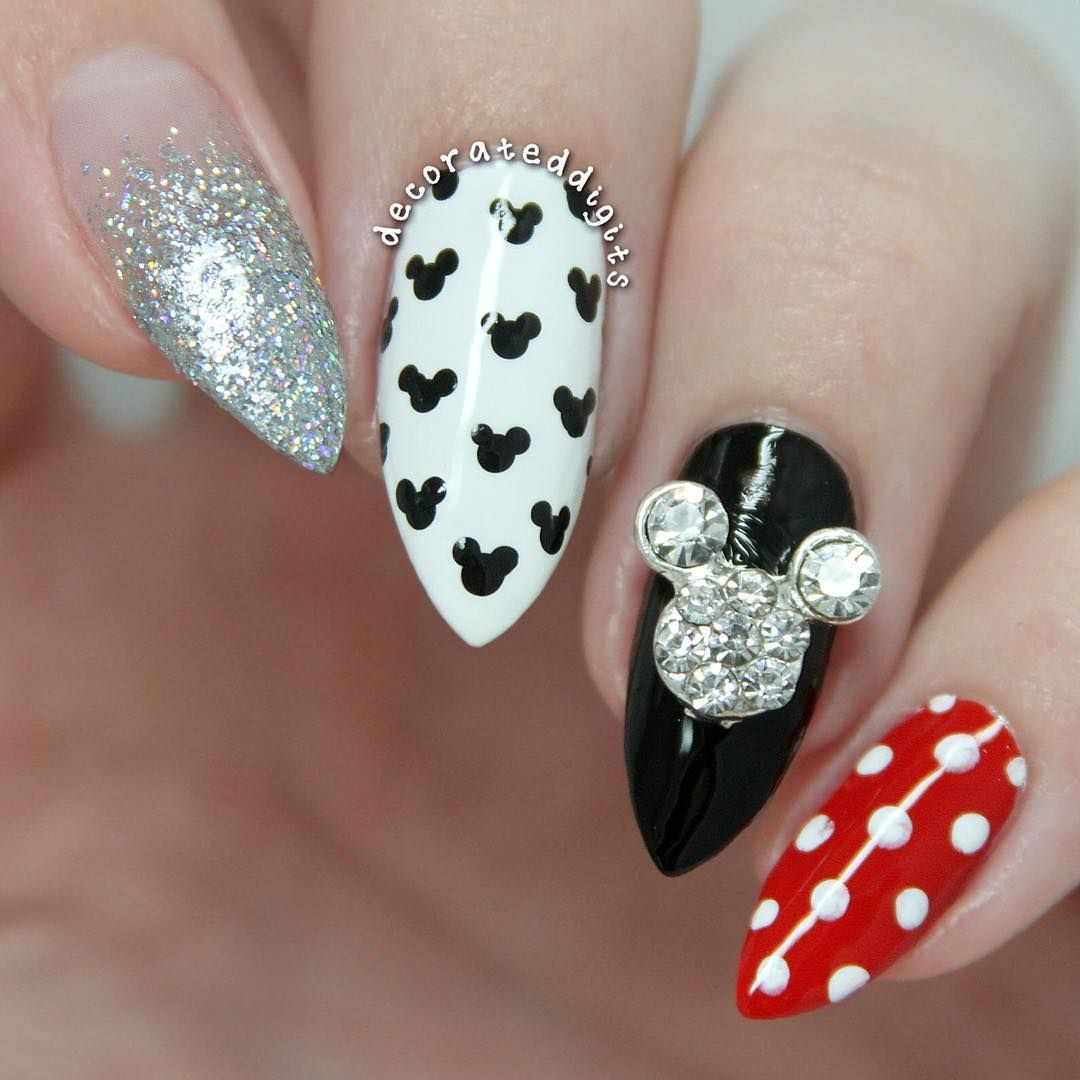 Mickey Mouse Inspired Stiletto Nails | Disney Inspired Nails and ...