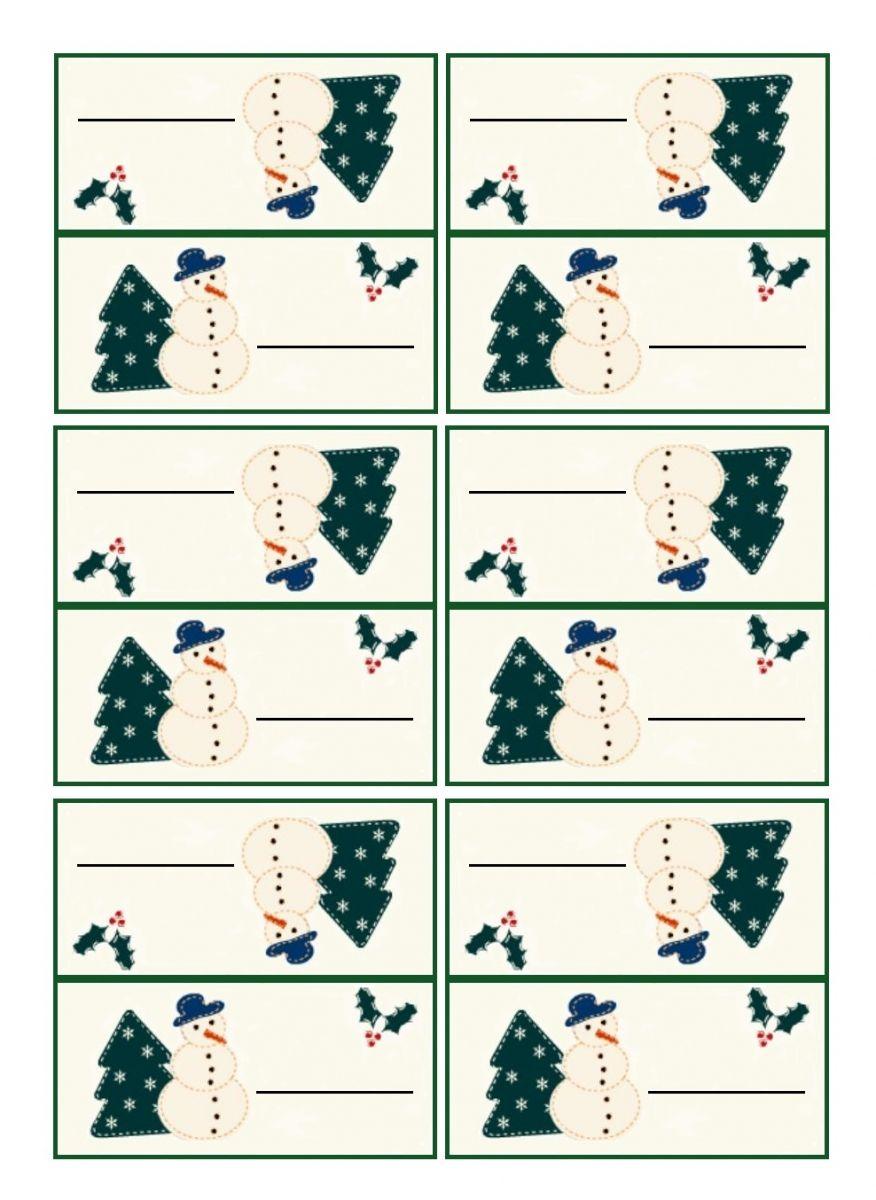 Carton de table marque place Noël à imprimer pour installer vos