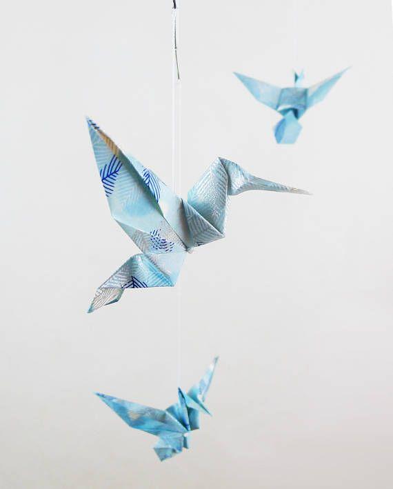 Mobile Bébé Origami 5 Oiseaux En Papier Japonnais Bleu Motif