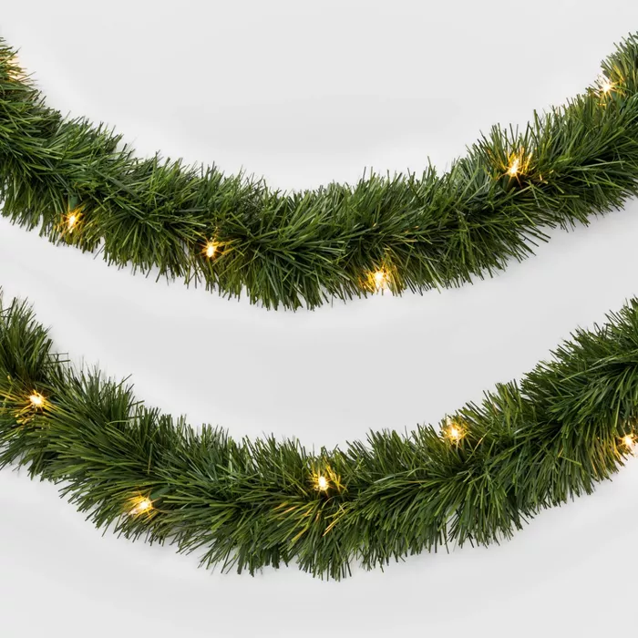18ft Prelit Artificial Christmas Garland Clear Lights Wondershop Target Christmas Garland Artificial Garland Artificial Christmas Garland