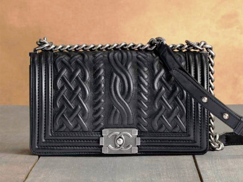 Chanel Black Cable Knit Embossed Boy Chanel Celtic Flap Medium Bag