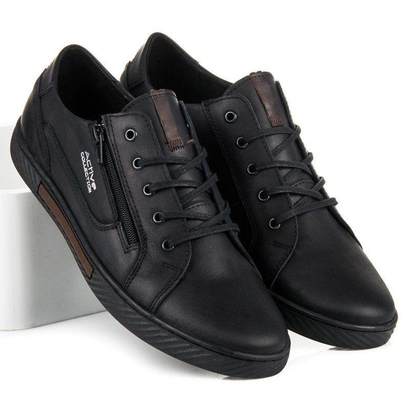 Sportowe Meskie Polbut Polbut Czarne Skorzane Trampki Meskie Black Sneaker All Black Sneakers Sneakers