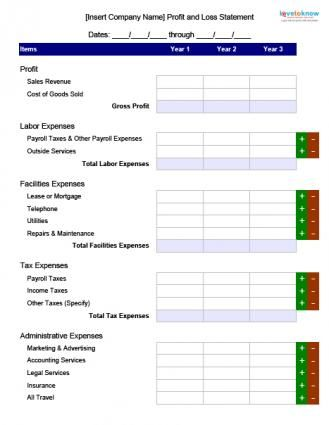 Blank Profit and Loss Form Business \ Careers Pinterest - sample income statement example