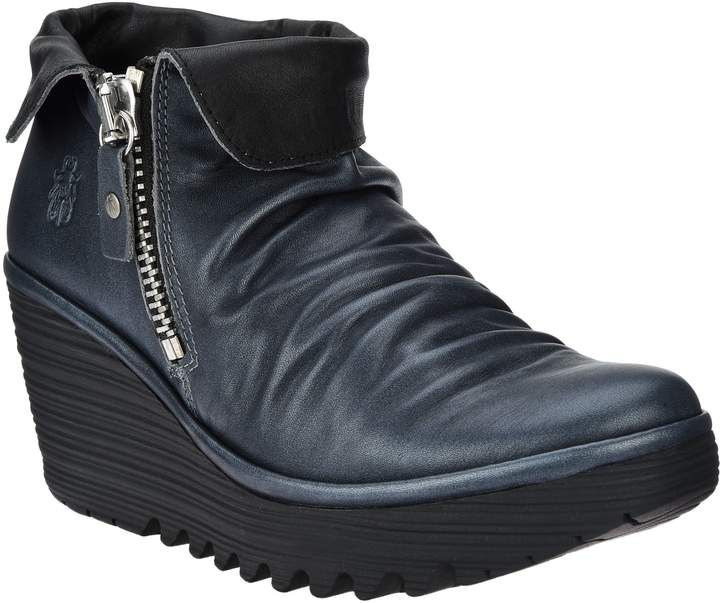 famous brand online store look good shoes sale FLY London Leather Wedge Ankle Boots - Yoxi — QVC.com   Boots ...