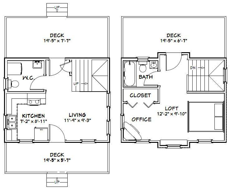 20x16 House 20x16h2 587 Sq Ft Excellent Floor Plans Floor Plans Courtyard House Plans House Floor Plans