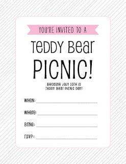 FREE Teddy Bear Picnic printable invitations July 10th is Teddy