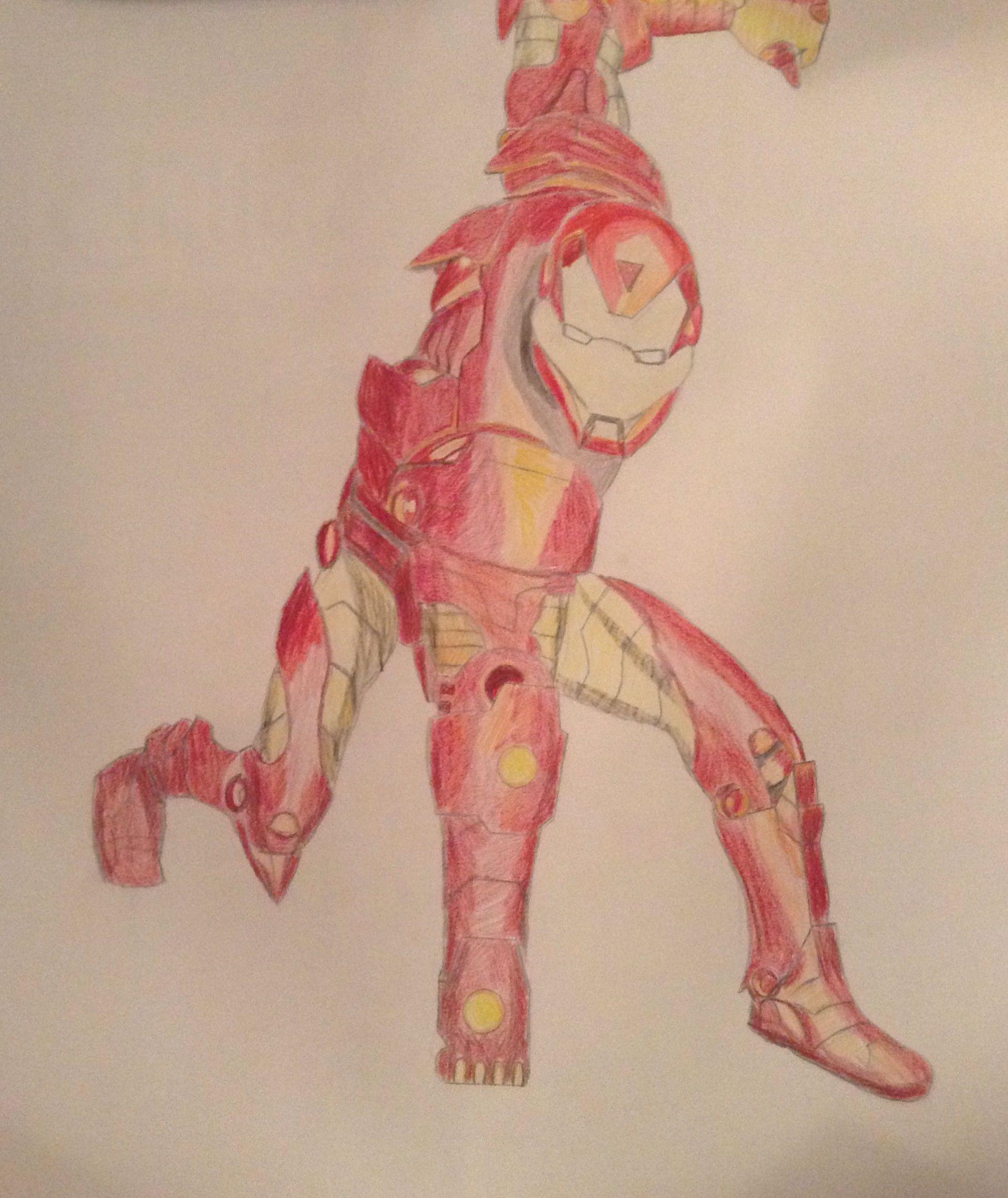 Iron man color pencil sketch