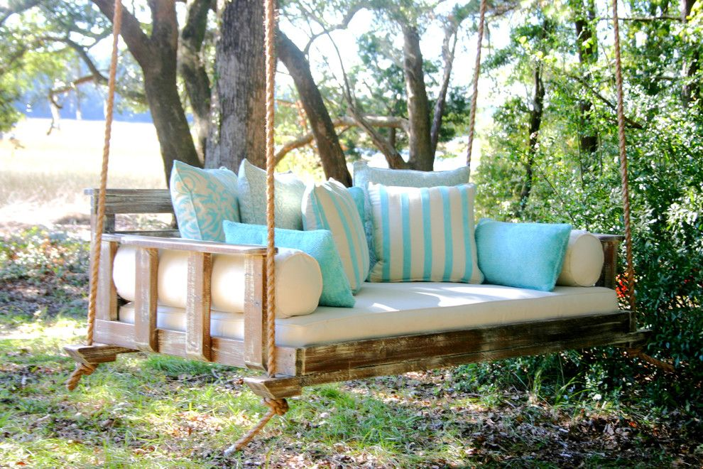 Superb Wooden Porch Swings In Farmhouse With Swinging Day Bed Next To Alongside Most Comfortable And Swing