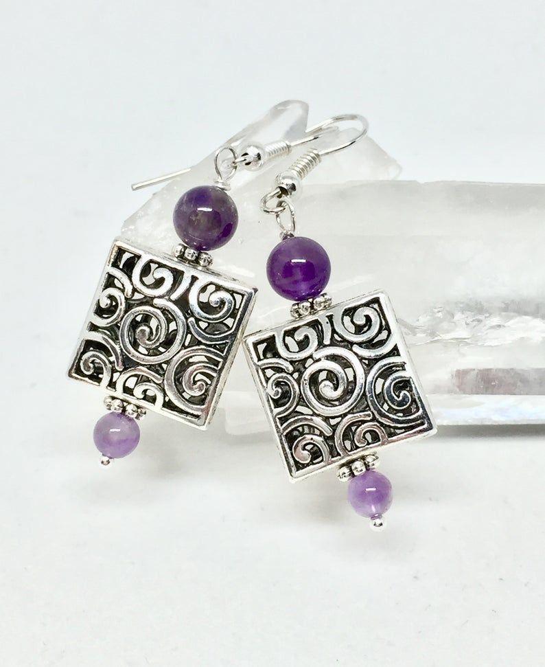 Photo of Amethyst silver filigree square earrings, dark purple healing stone jewelry, February birthstone