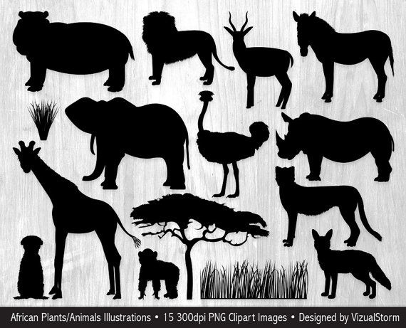 African Animal Silhouettes Clipart Serengeti Wildlife Etsy In 2021 Animal Silhouette African Animal Silhouette African Animals