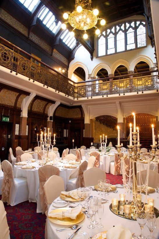 Stunning effect created with gold candelabras and Ivory linen by Debonair Venue Styling