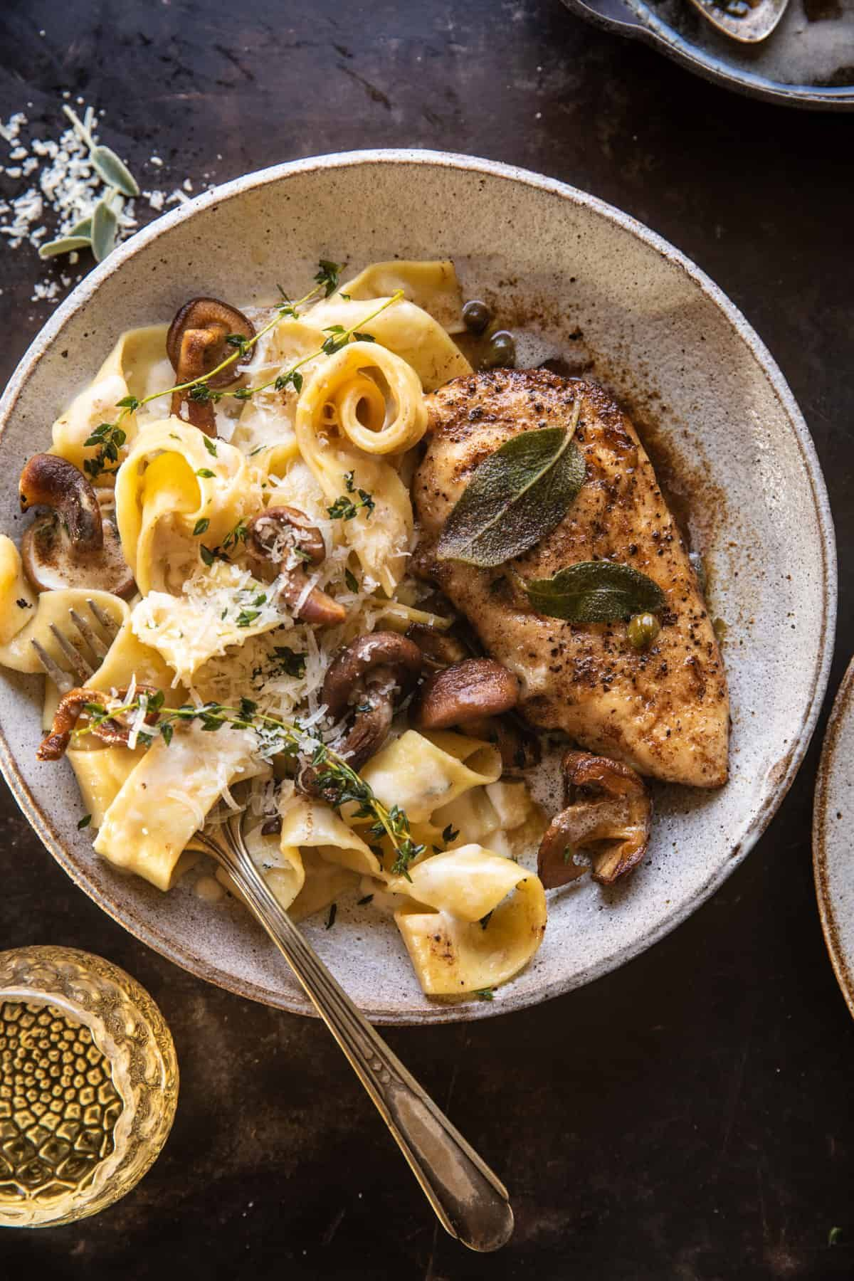 Browned Sage Butter Chicken Piccata with Mushroom