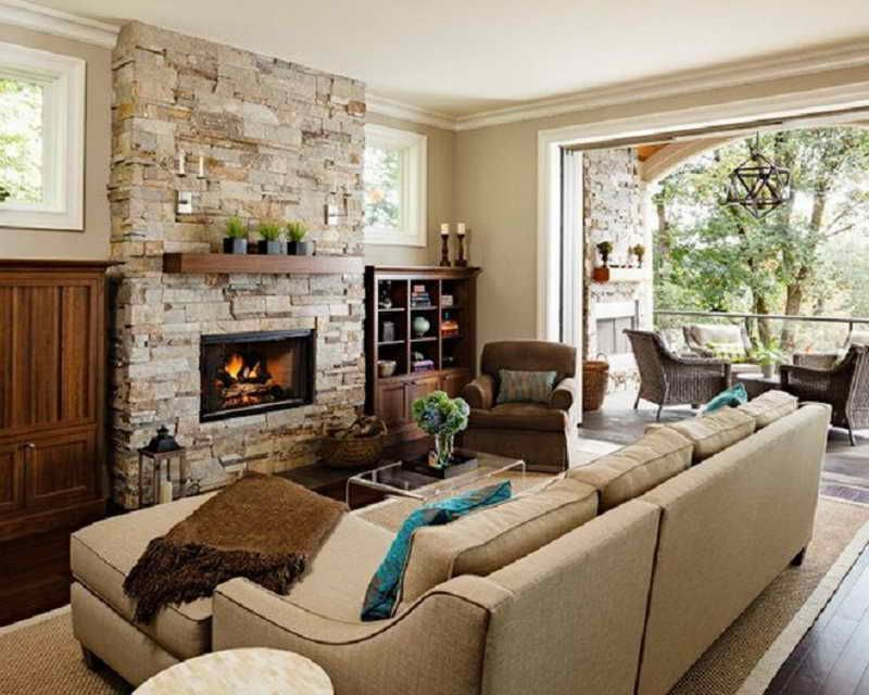 Traditional Living Room with Stone Fireplace | Living Room ...