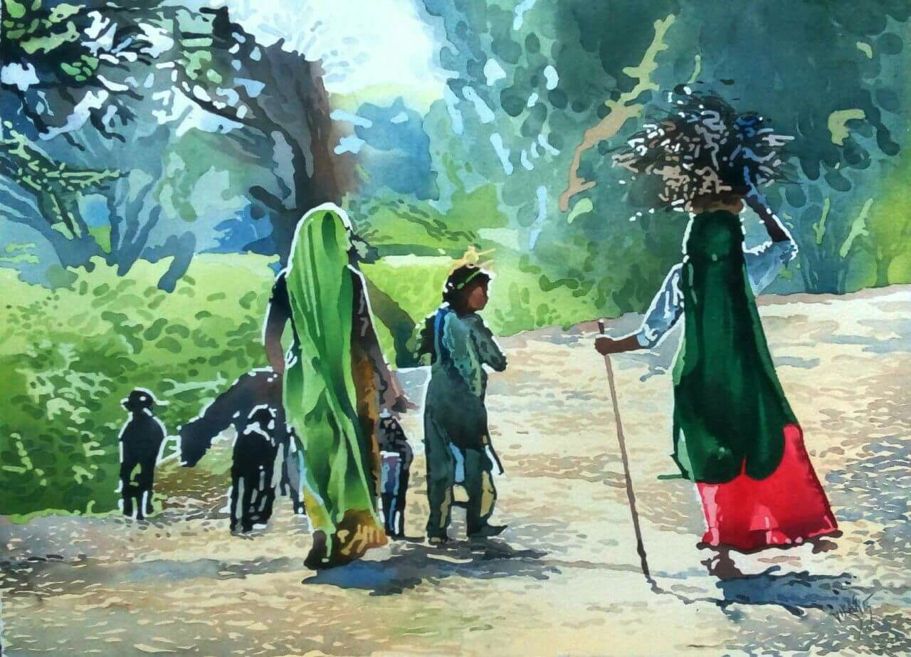 Watercolour on paper waterford 640 gsm size 30x22 vikas vinayac human figures