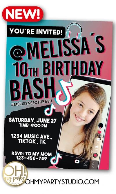 Tiktok Birthday Party Invitation Birthday Party Invitations Party Invitations Invitations