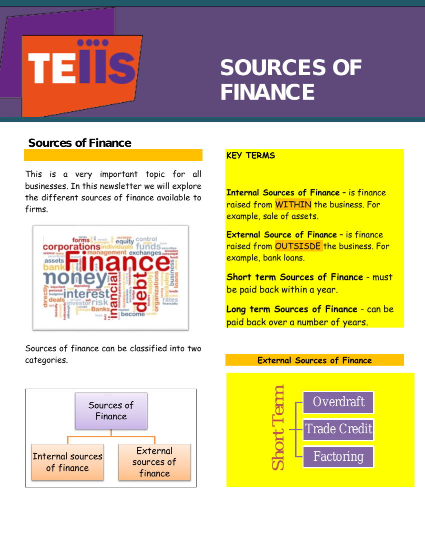 Sources of Finance Revision newsletter in 2020 Finance