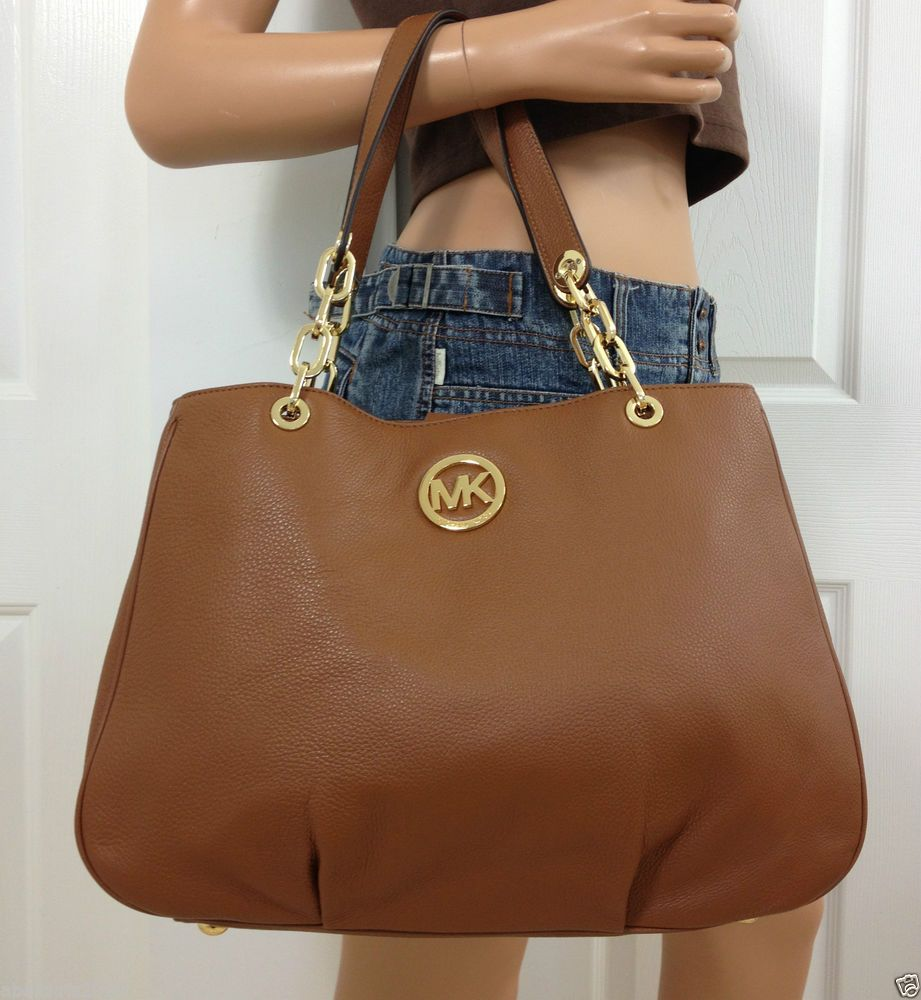 Michael Kors Fulton Chain Leather Large Brown Tote Shoulder Bag Purse #MichaelKors #ShoulderBag