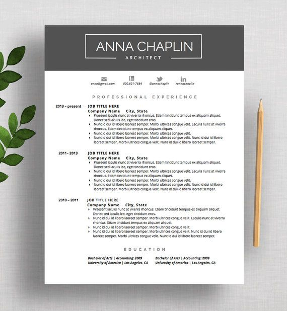Professional Resume Template Cv And Cover Letter Modern Design