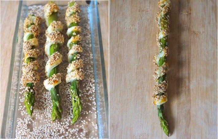 grüner spargel in blätterteig, fingerfood, foodblogger