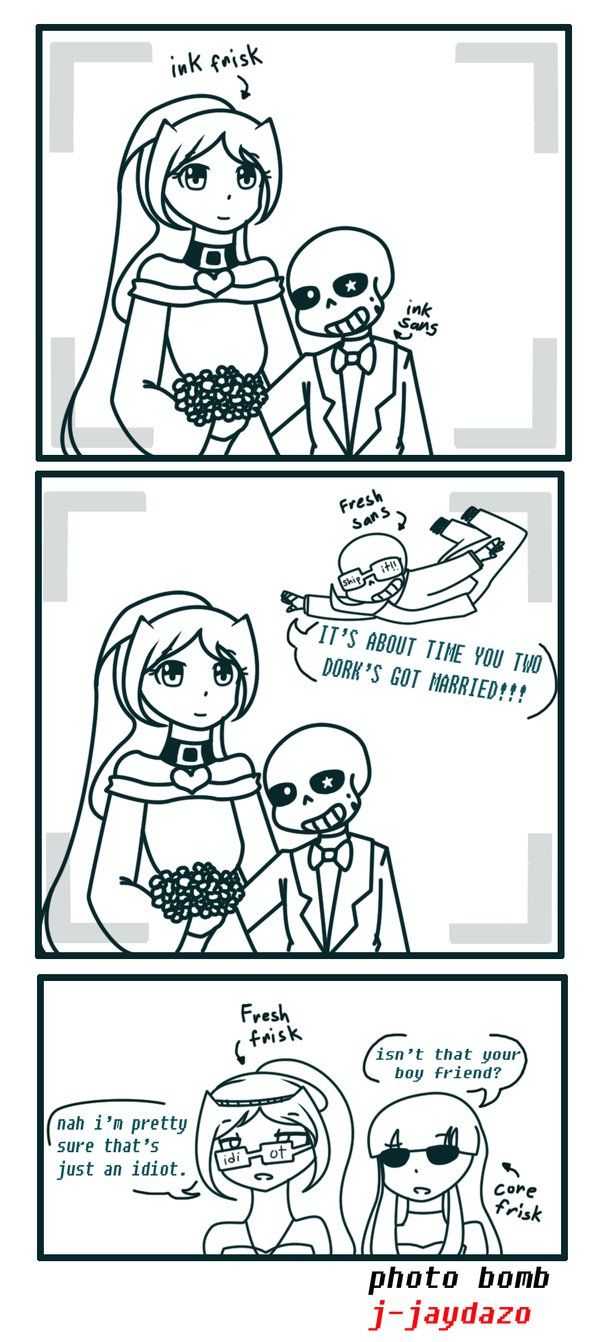 Photo Bomb (ink sans x ink frisk wedding) by jjaydazo on DeviantArt