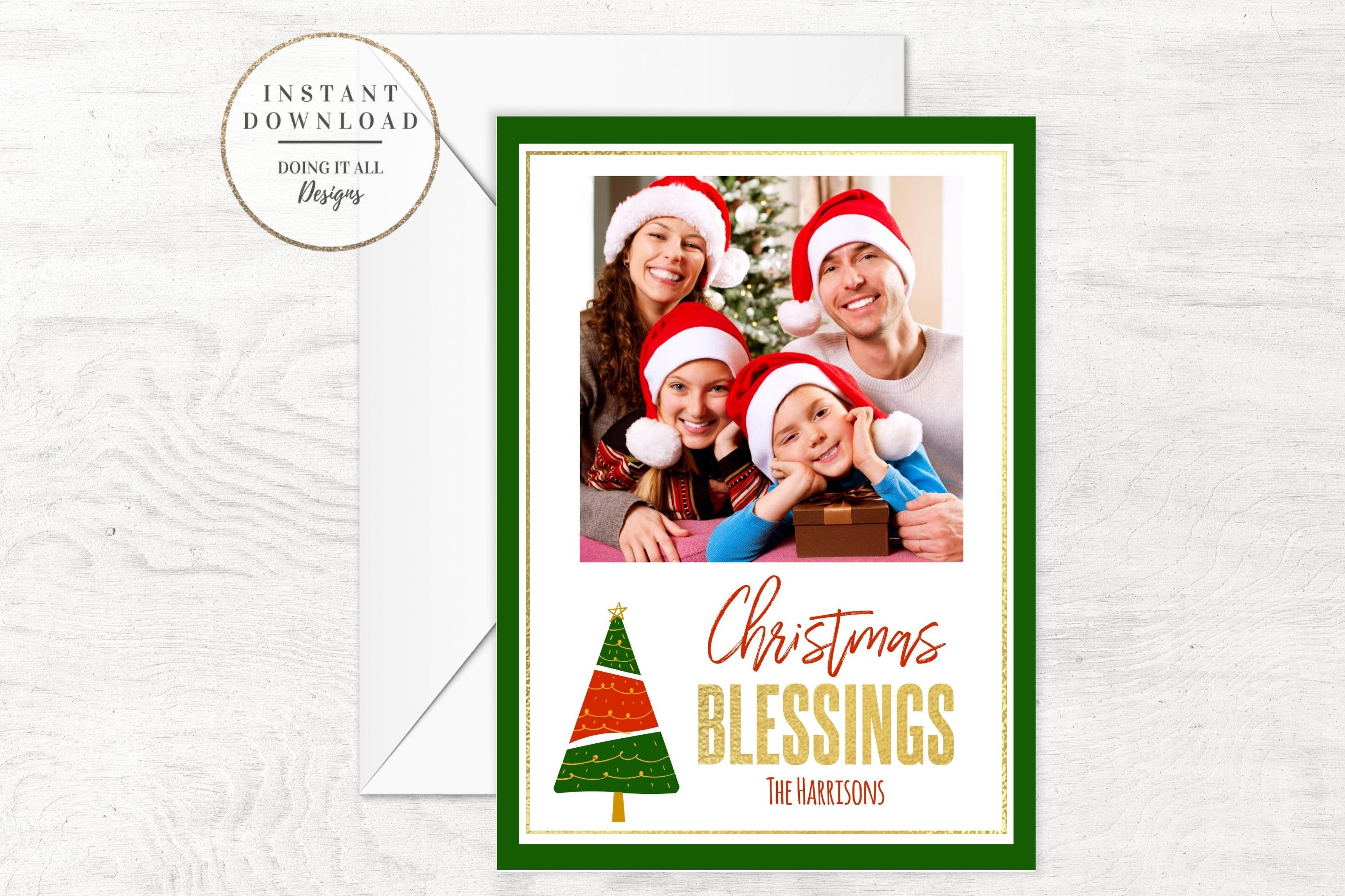 Christmas Photo Card Editable Christmas Card Template Etsy Christmas Card Template Christmas Photo Cards Holiday Card Template