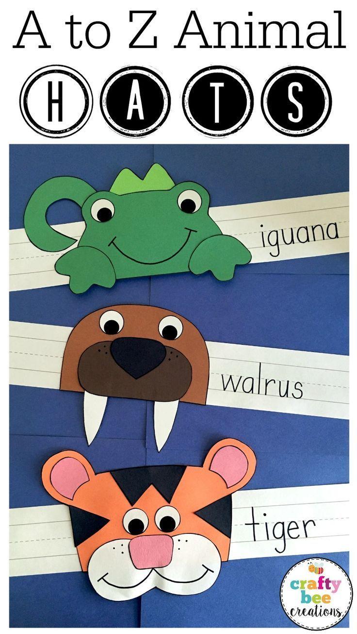 Alphabet Animal Hats Crafts Bundle Kindergarten First And Second