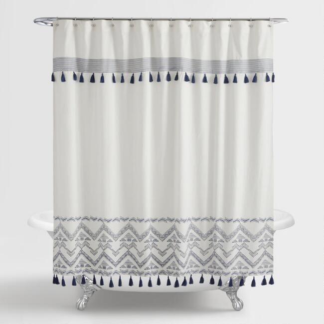 Indigo And White Tribal Zanzibar Shower Curtain