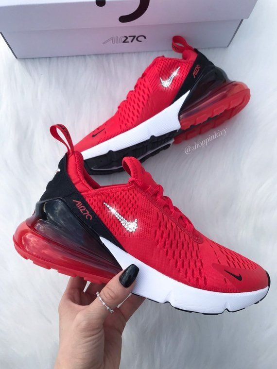 Swarovski Nike Blinged Womens Nike Air Max 270 Running  Training Shoes.  Outer Nike Swoosh is customized with fabulous Swarovski Crystal Rhinestones! a5527d07280c