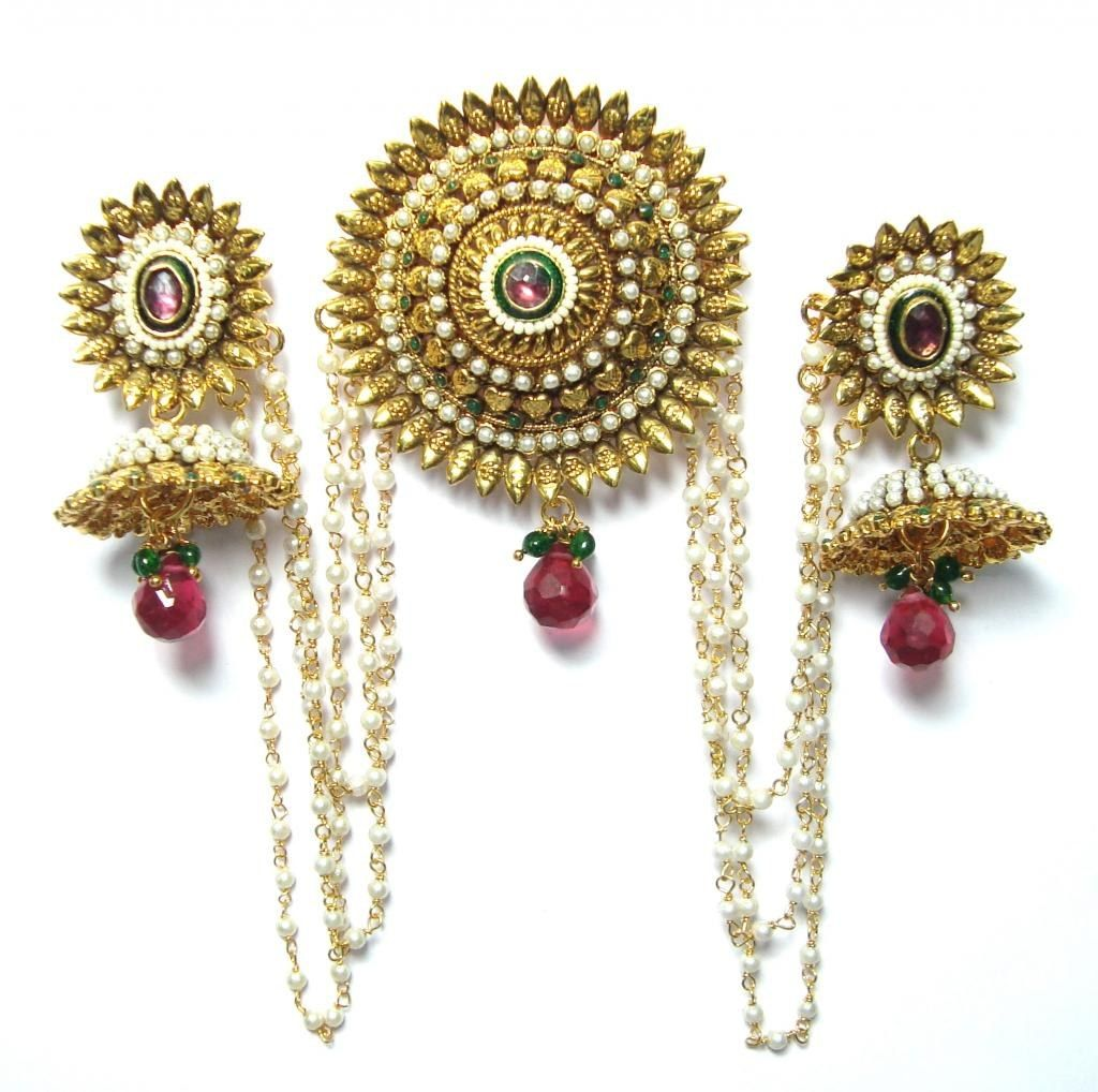 Hair accessories for wedding online india - Bun And Earring Bridal Hair Piece Indian Pakistani Desi