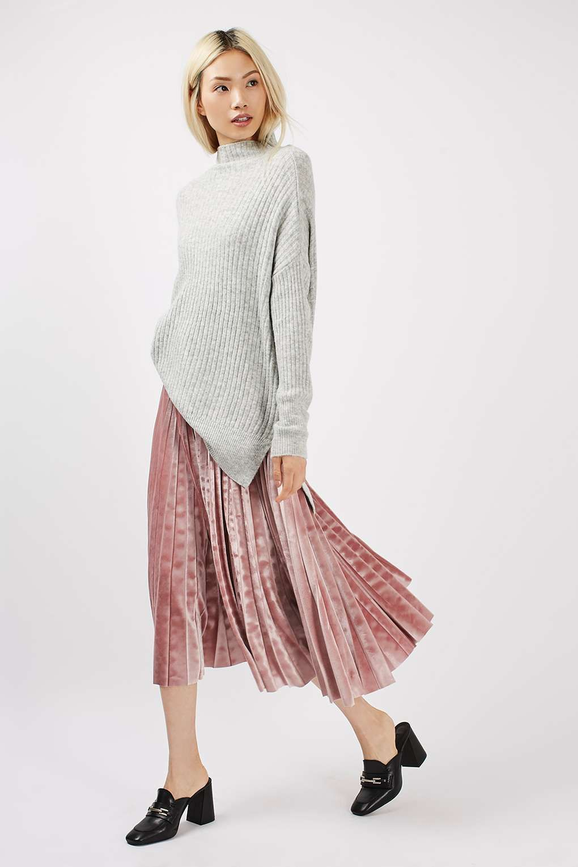velvet pleated midi skirt new in winter and fashion