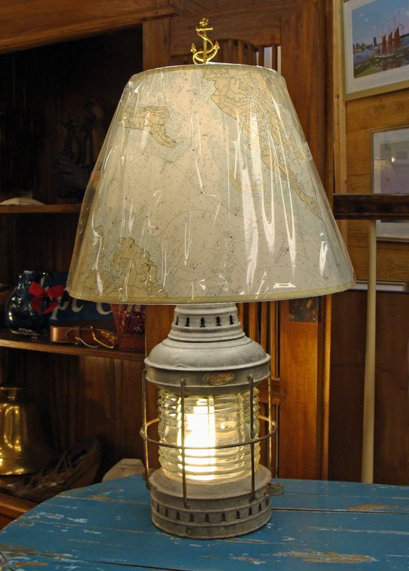 Triplex Anchor Lantern Nautical Table Lamp Exceptional Quality Early 20th Century Galvanized Metal Marine Anchor Lant Nautical Lamps Home Decor Nautical Table