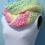 Rainbow Infinity Scarf Pattern and Purple-Blue-Green Slouchy Cowl