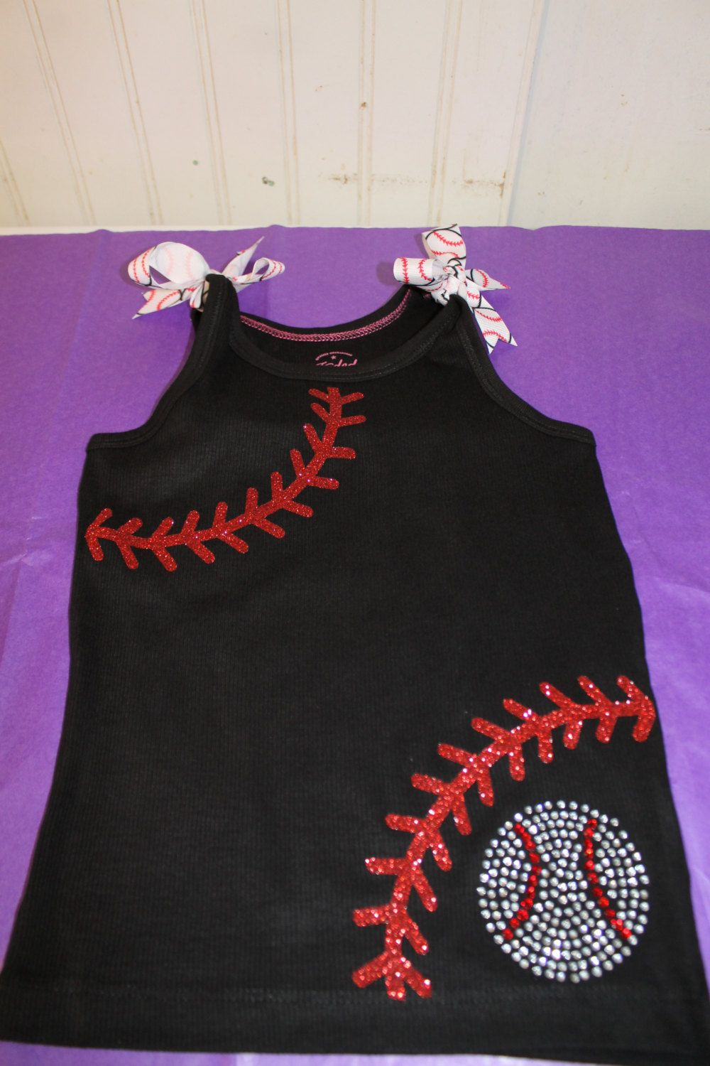 Shirt design with laces - Girls Laces Glitter And Bling Baseball Tee Or Tank Customized In Your Team Colors