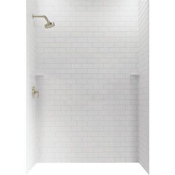 Swanstone 36d X 62w X 72h Subway Tile Shower Wall Kit