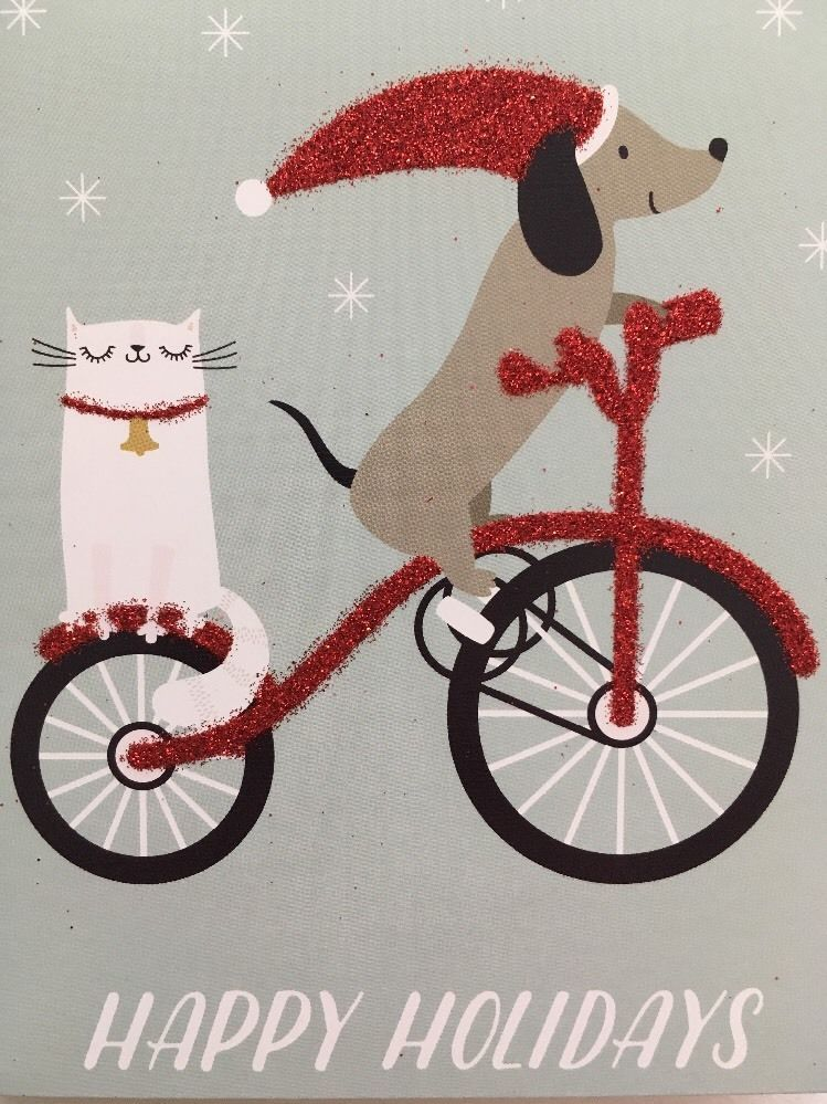 NEW Dachshund Set Of 12 Christmas Cards Doxie Dog Riding Bike ...