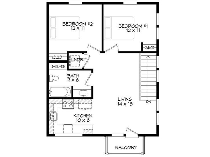Garage Apartment Floor Plans 2 Bedroom 2nd floor plan, 062g-0058. 750 sq. ft. 2 bed | apt.'s above garage