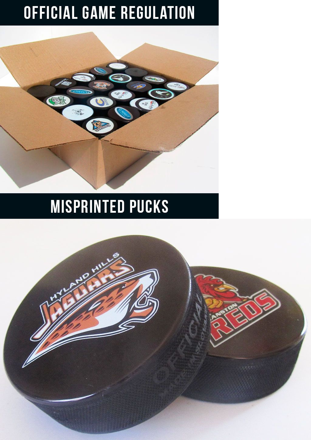 Pucks 108178: Misprint Custom Ice Hockey Pucks - 50 Puck