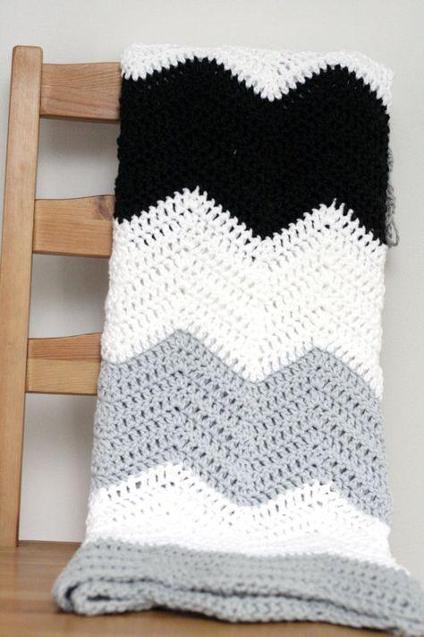 Large Stripe Color Block Crochet Chevron Blanket Pattern Color