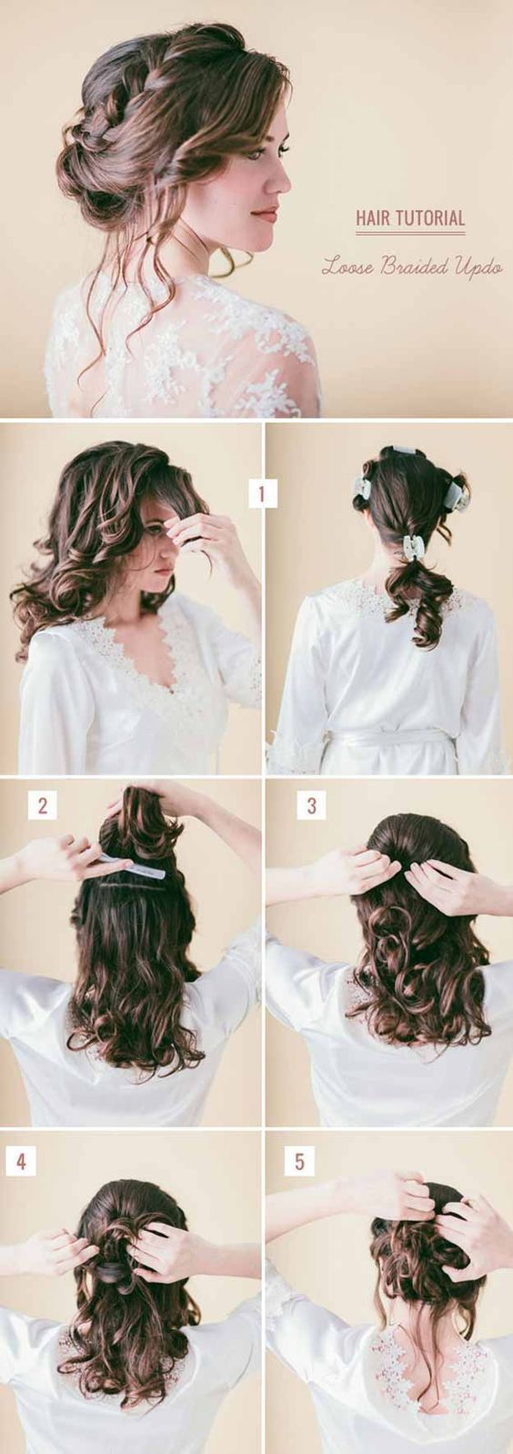 Wedding Hairstyles for Long Hair - Loose Updo with Braids - Looking ...
