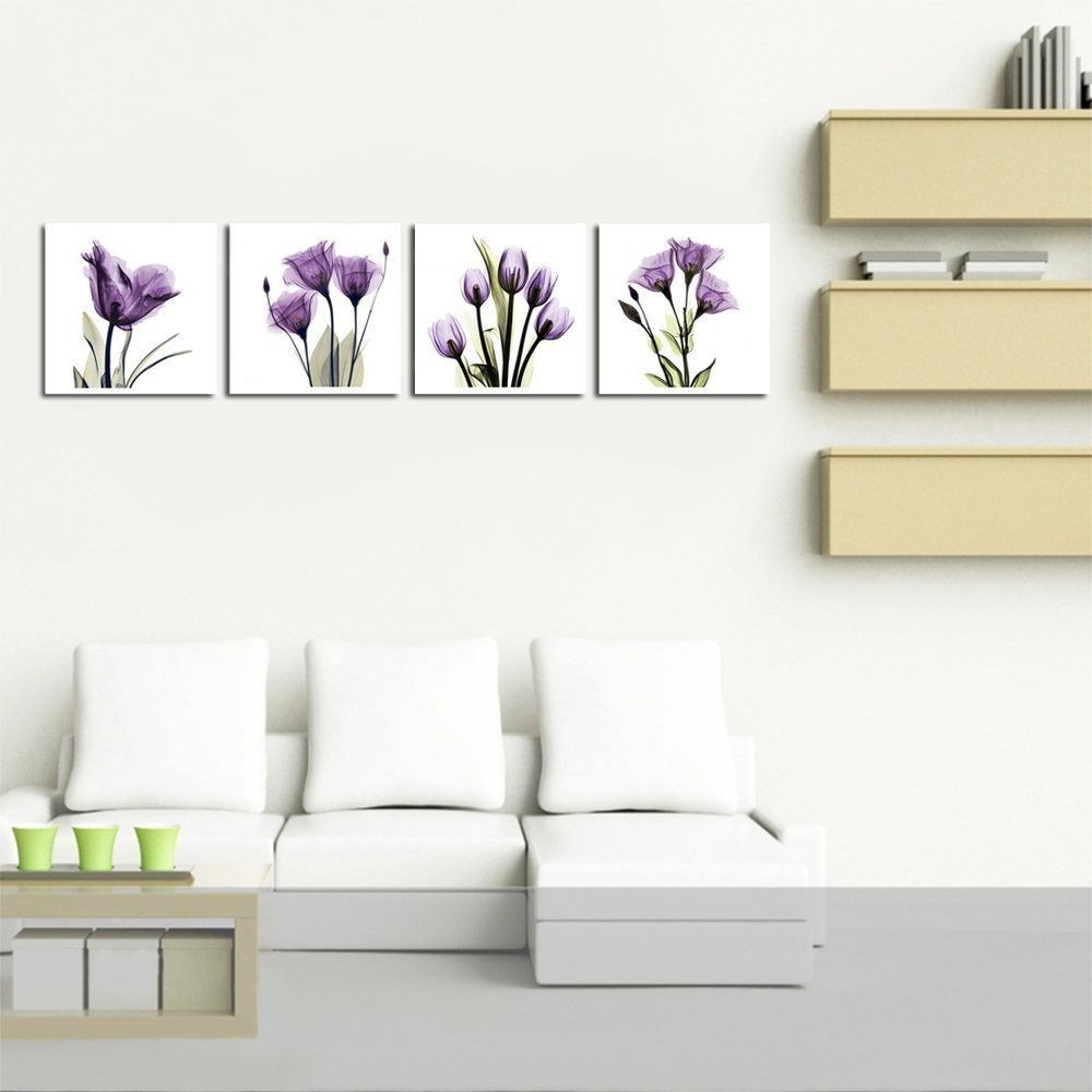 Amazon hlj art panel elegant tulip purple flower canvas print