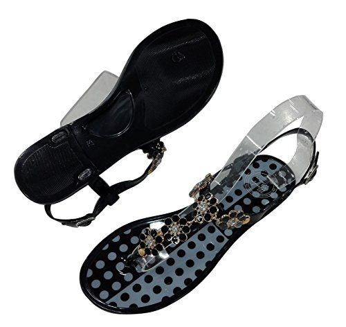 D1 Py By Yunzhicheng Upper with Metal Flower Decoration Black Dot Jelly Thong Slingback Bohemia Flat Sandal