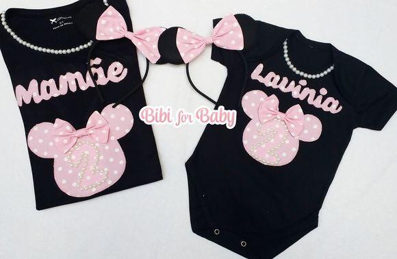 Kit Camiseta mamãe personalizada + Body preto infantil+ 2 tiara minnie . Camisetas  personalizadas ARTESANALMENTE COM ESTILO! FABRICAÇÃO PRÓPRIA! 918db2683ca