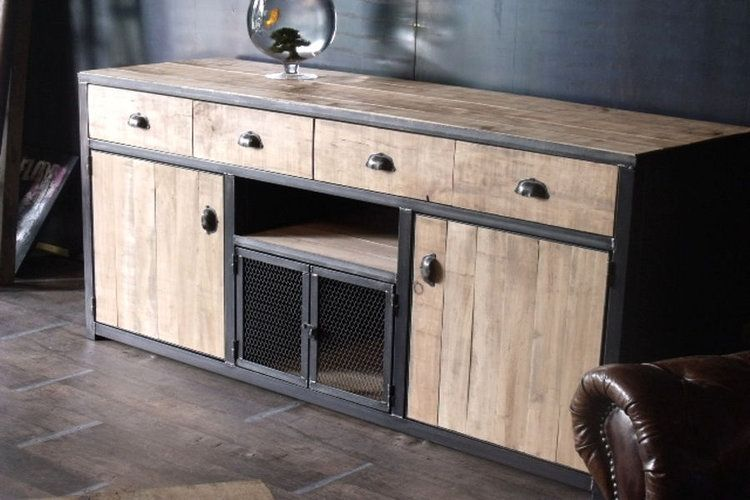 un buffet industriel etagere salon mobilier en bois et meuble en palette. Black Bedroom Furniture Sets. Home Design Ideas