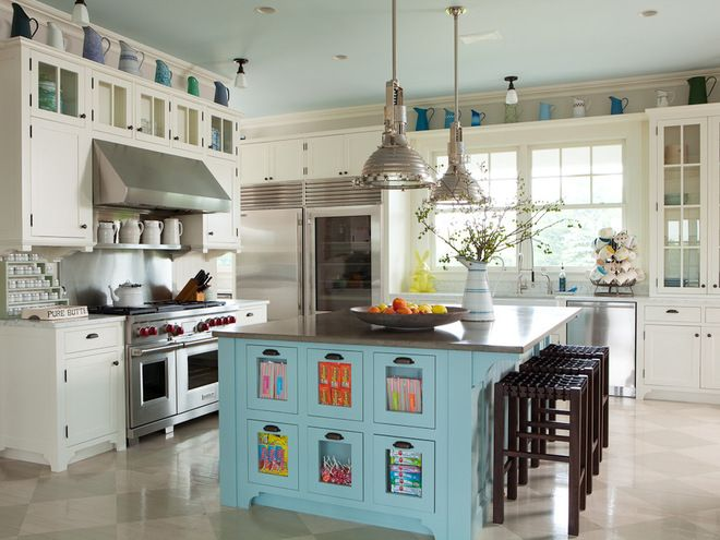 Family-friendly kitchen in the Hamptons (shallow bins in the island offer easy-to-grab treats) | ALICE BLACK INTERIORS
