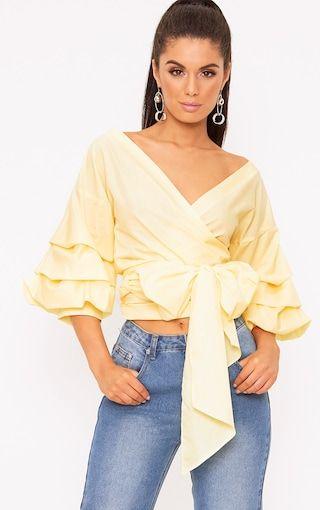 d9fc0a4c6c8d43 Marlow Lemon Oversized Ruffle Sleeve Low Shoulder Shirt   Nova ...