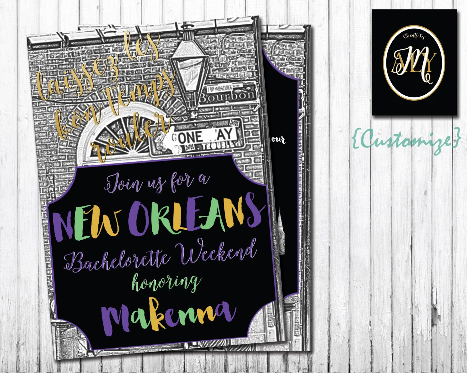 PRINTABLE // DIGITAL FILE // New Orleans Bachelorette Party Invite ...