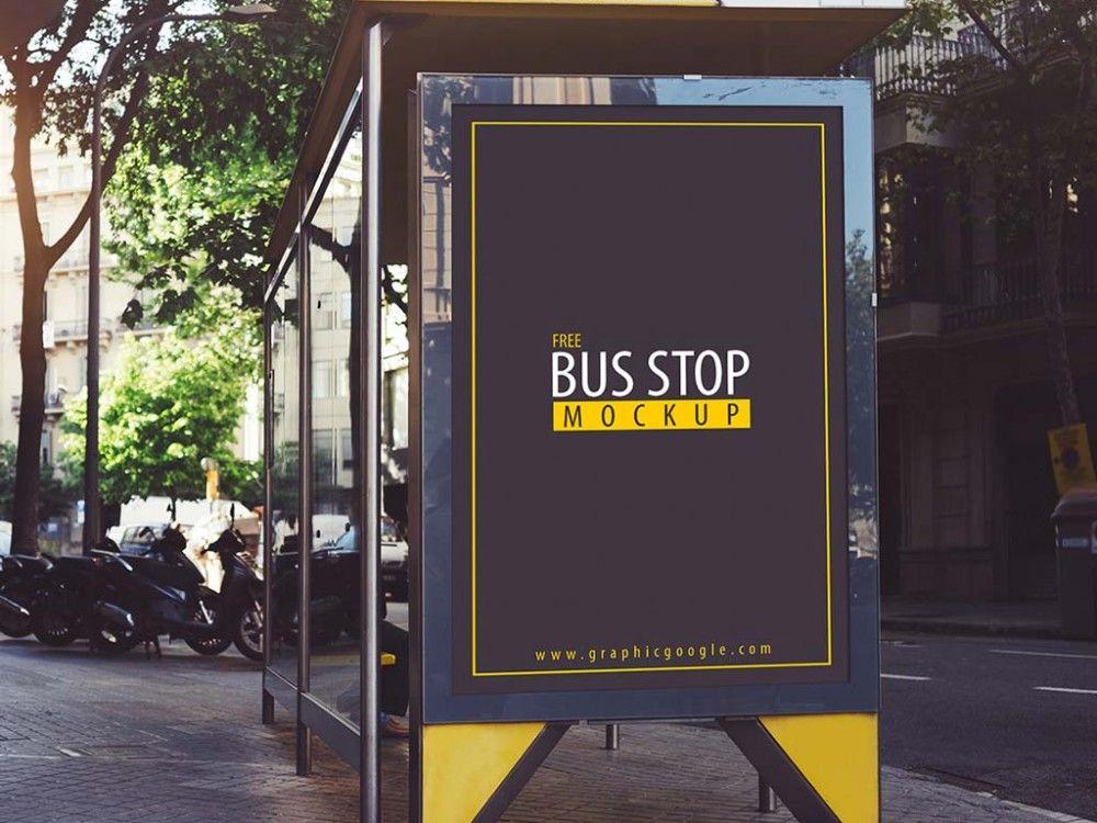 Bus Stop Advertising Mockup Mockupworld Outdoor Advertising Mockup Bus Stop Bus Stop Advertising