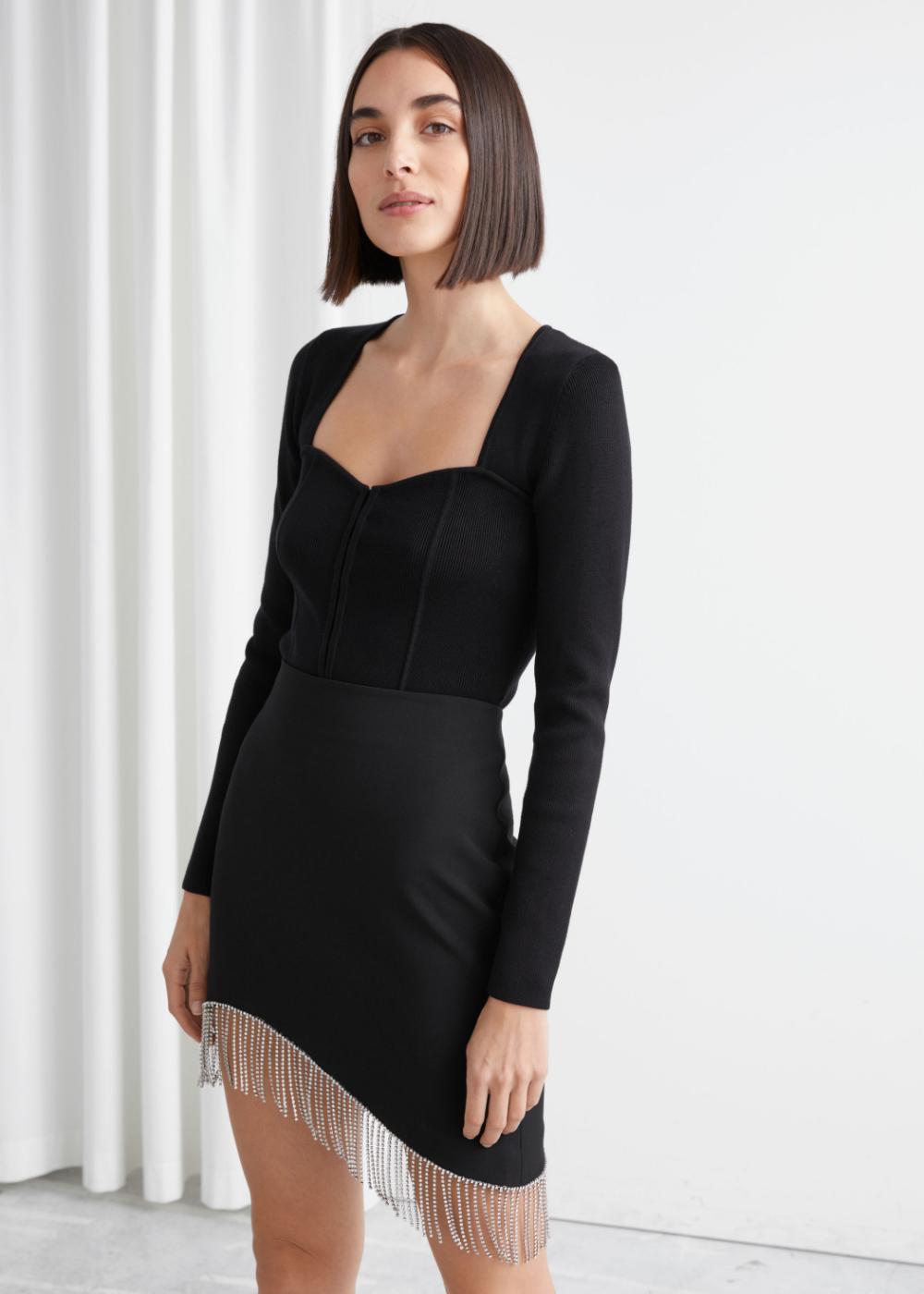 Black 2 In 1 Strappy Split Front Shift Dress 1000 Shift Dress Basic Black Dress Fashion [ 1180 x 740 Pixel ]