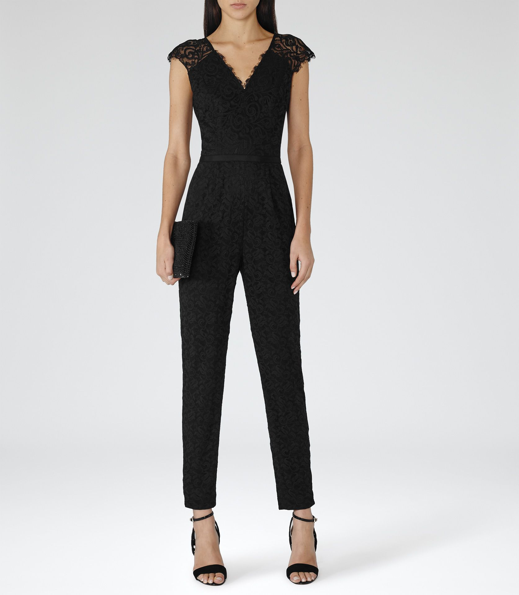 f877ca4206 Womens Black Lace Jumpsuit - Reiss Manola